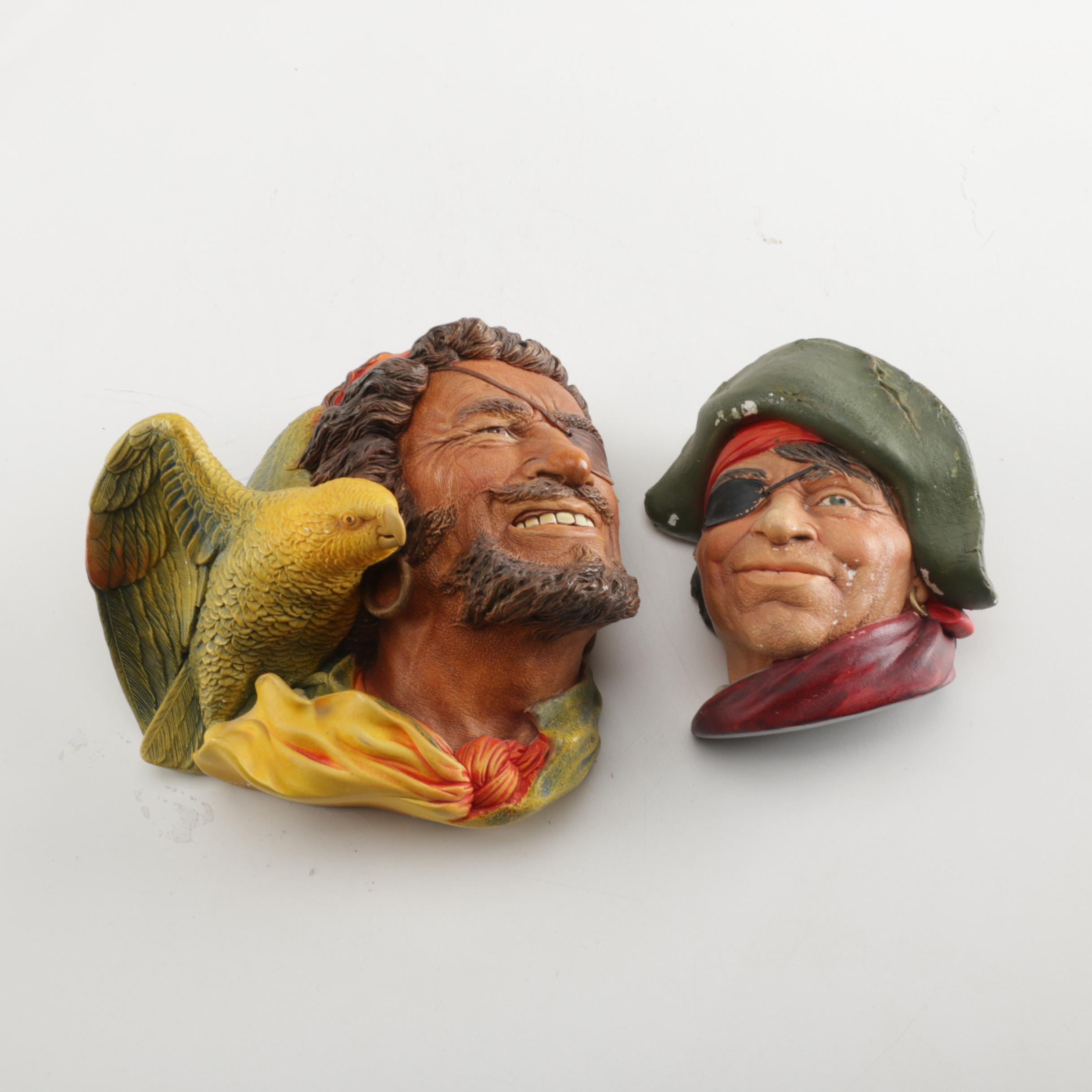 Pair of English Made Chalkware Pirate Busts including Bossons