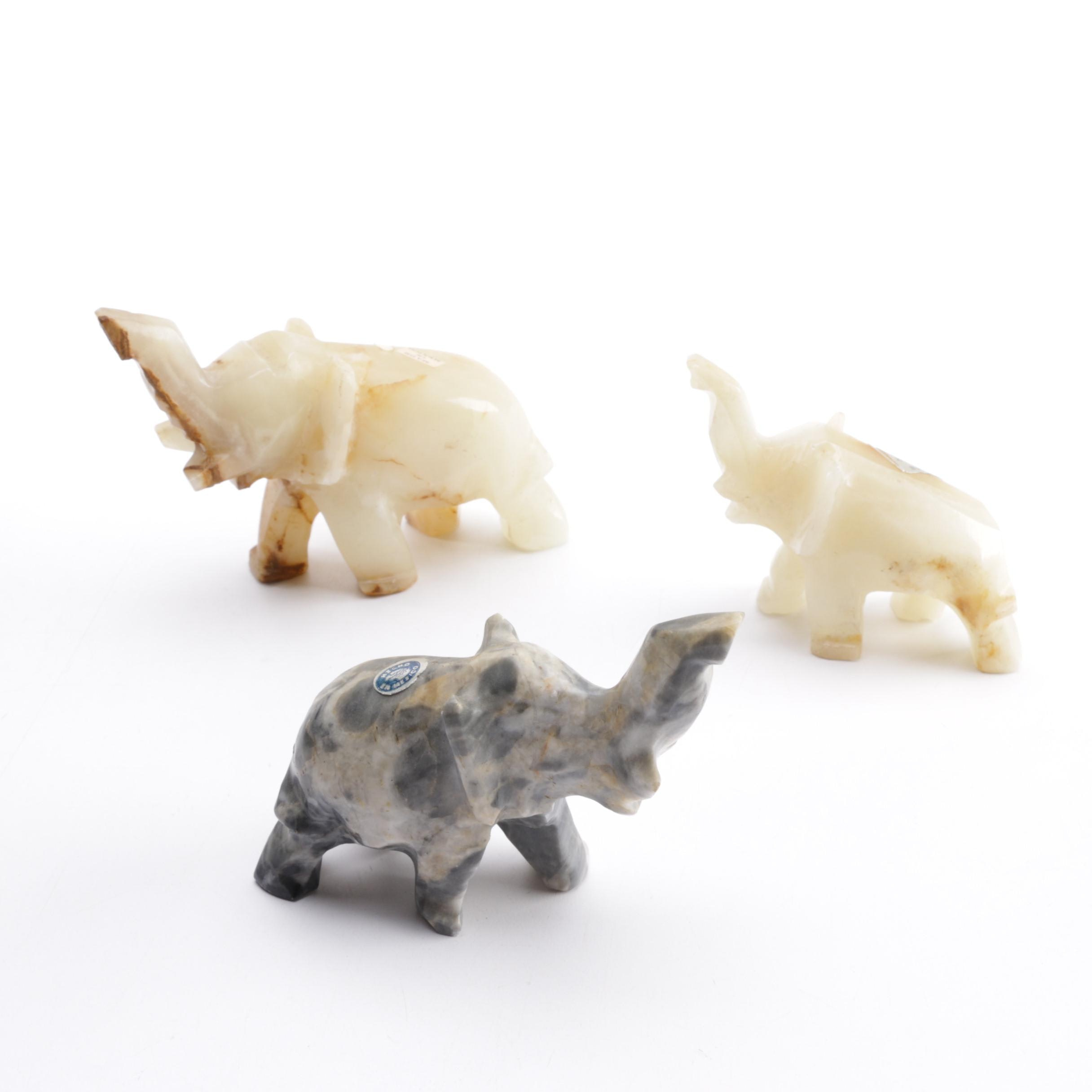 Marble and Calcite Elephant Figurines