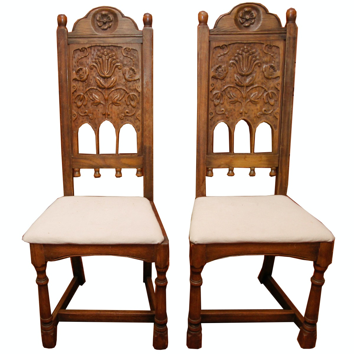 Pair Of Tudor Style Carved Oak Side Chairs ...