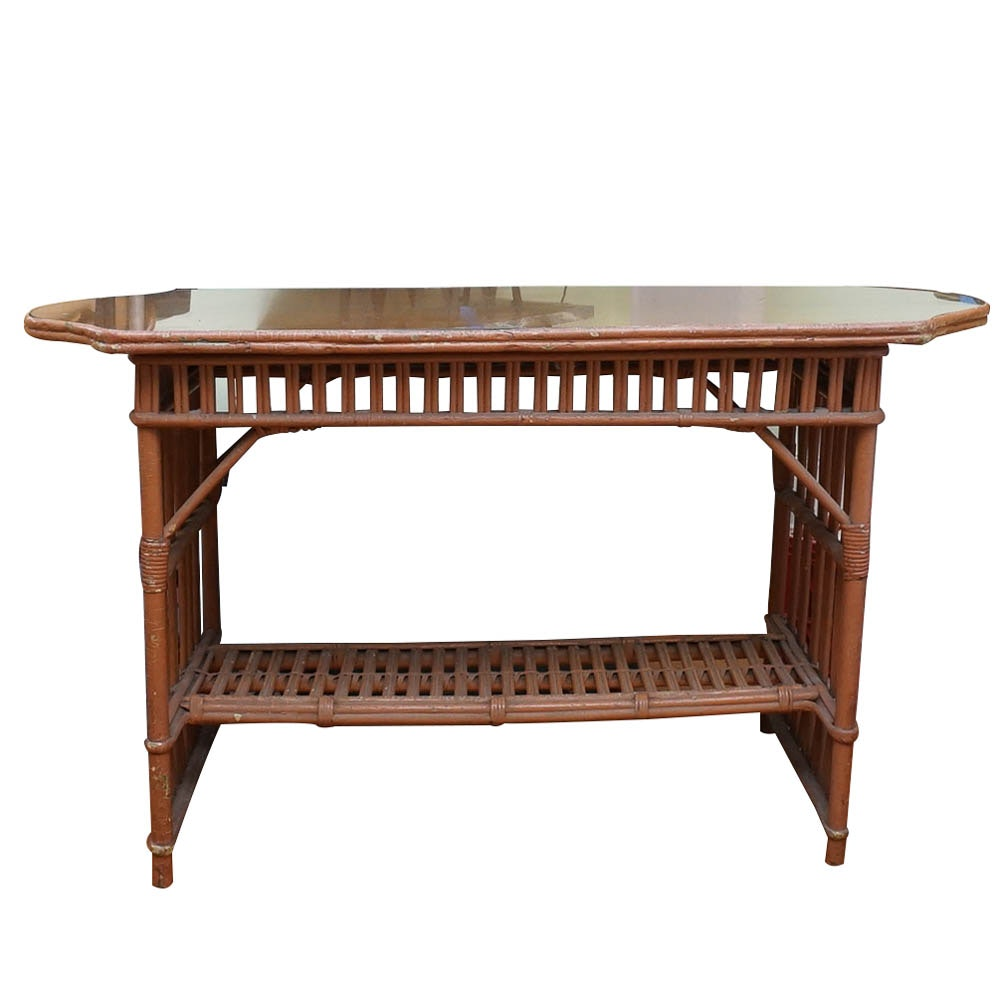 Vintage 1920s Glass Top Rattan Console Table