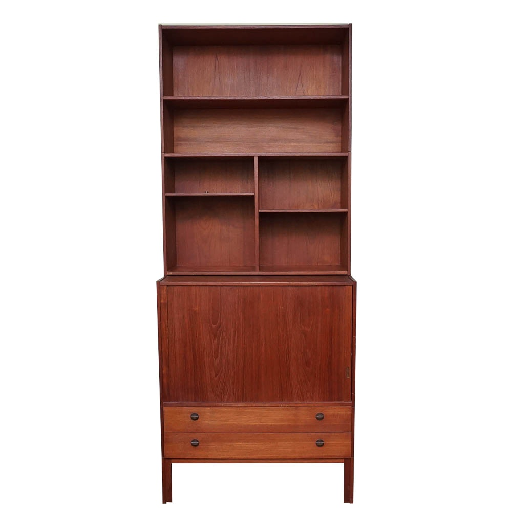 Danish Modern Credenza with Step Back Shelving