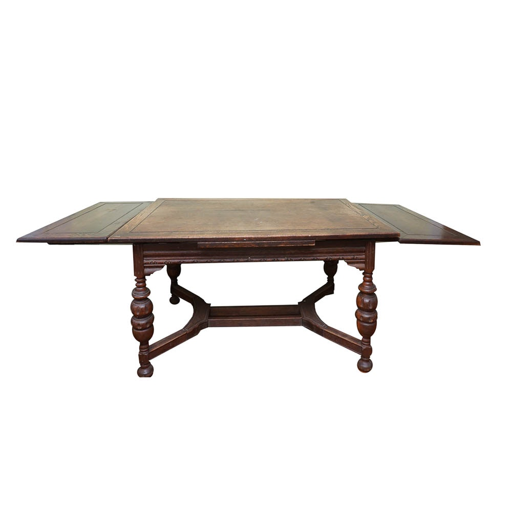 Vintage 1920s Jacobean Revival Style Oak Drawl-Leaf Dining Table