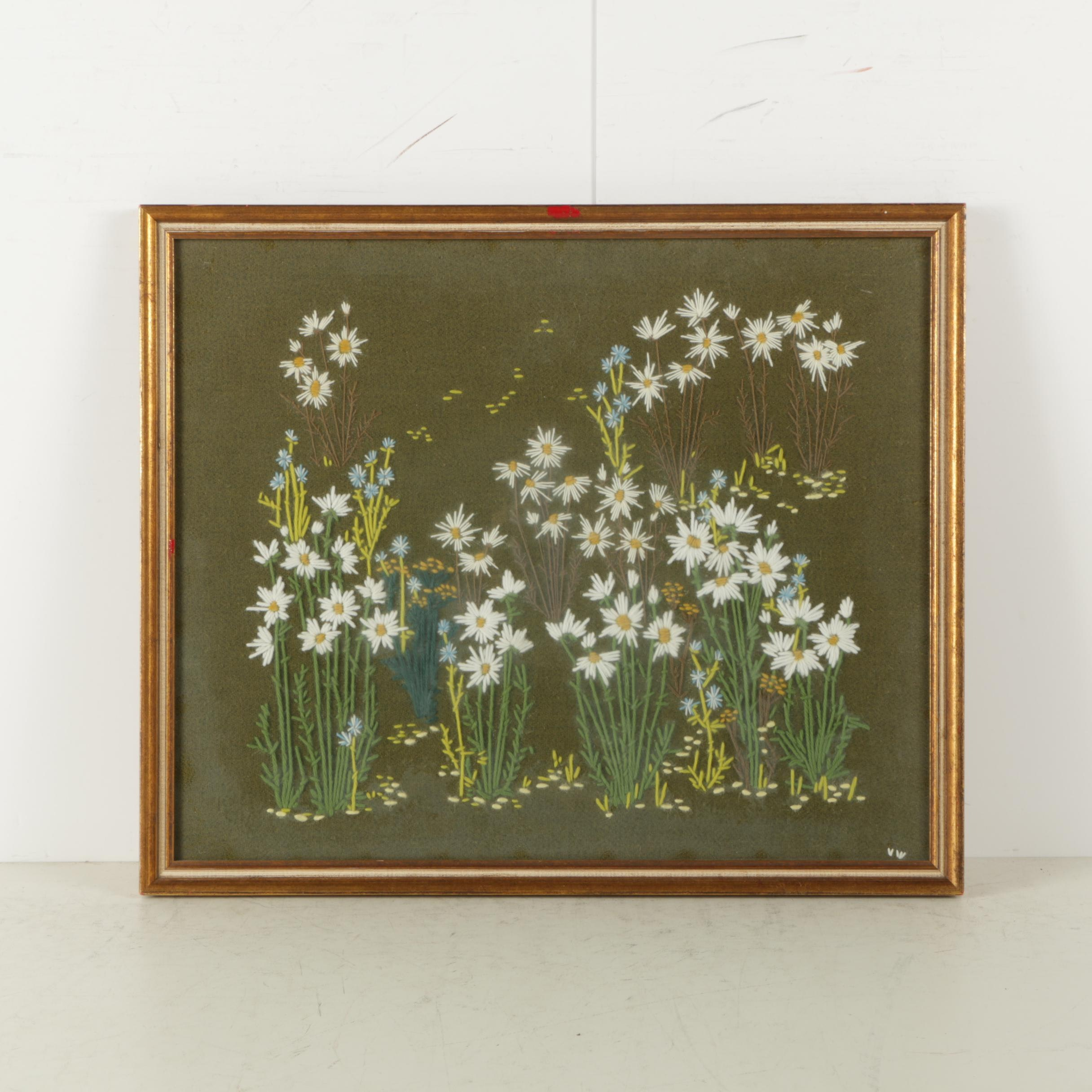 Framed Embroidery of Daisies