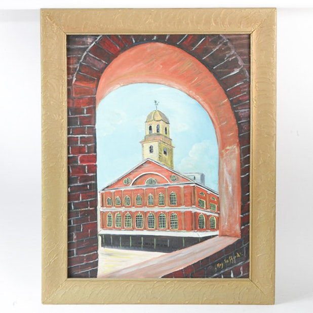 Ray Safford Oil Painting on Canvas of Faneuil Hall