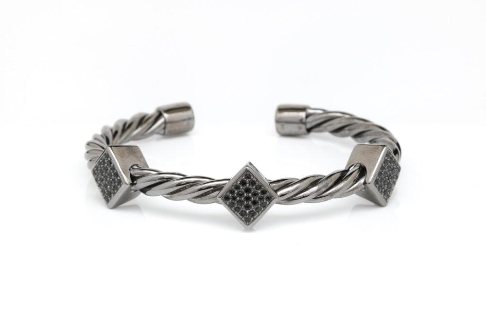 Black Rhodium Plated Sterling Silver and Black Crystal Bracelet
