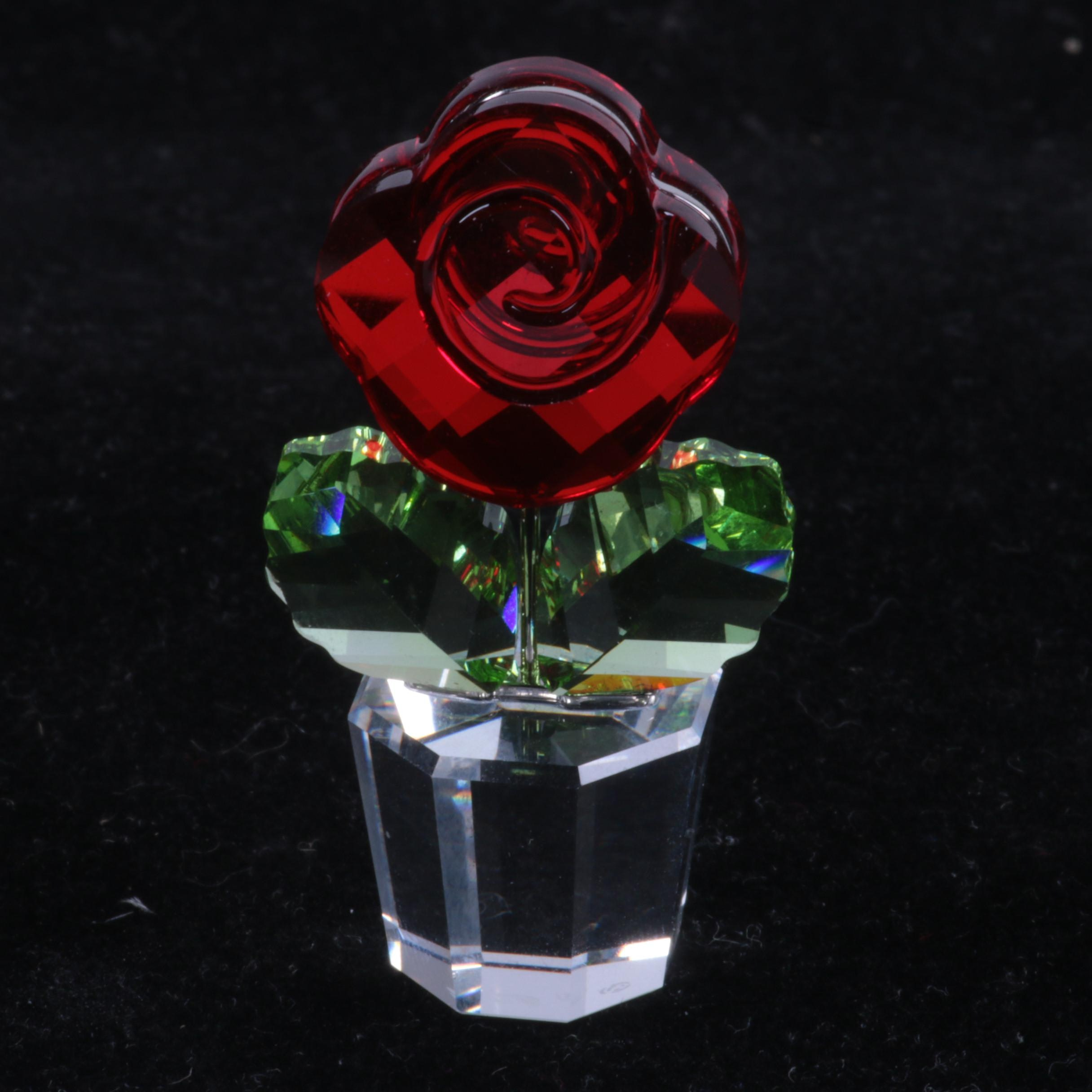 Swarovski Crystal Red Rose Figurine