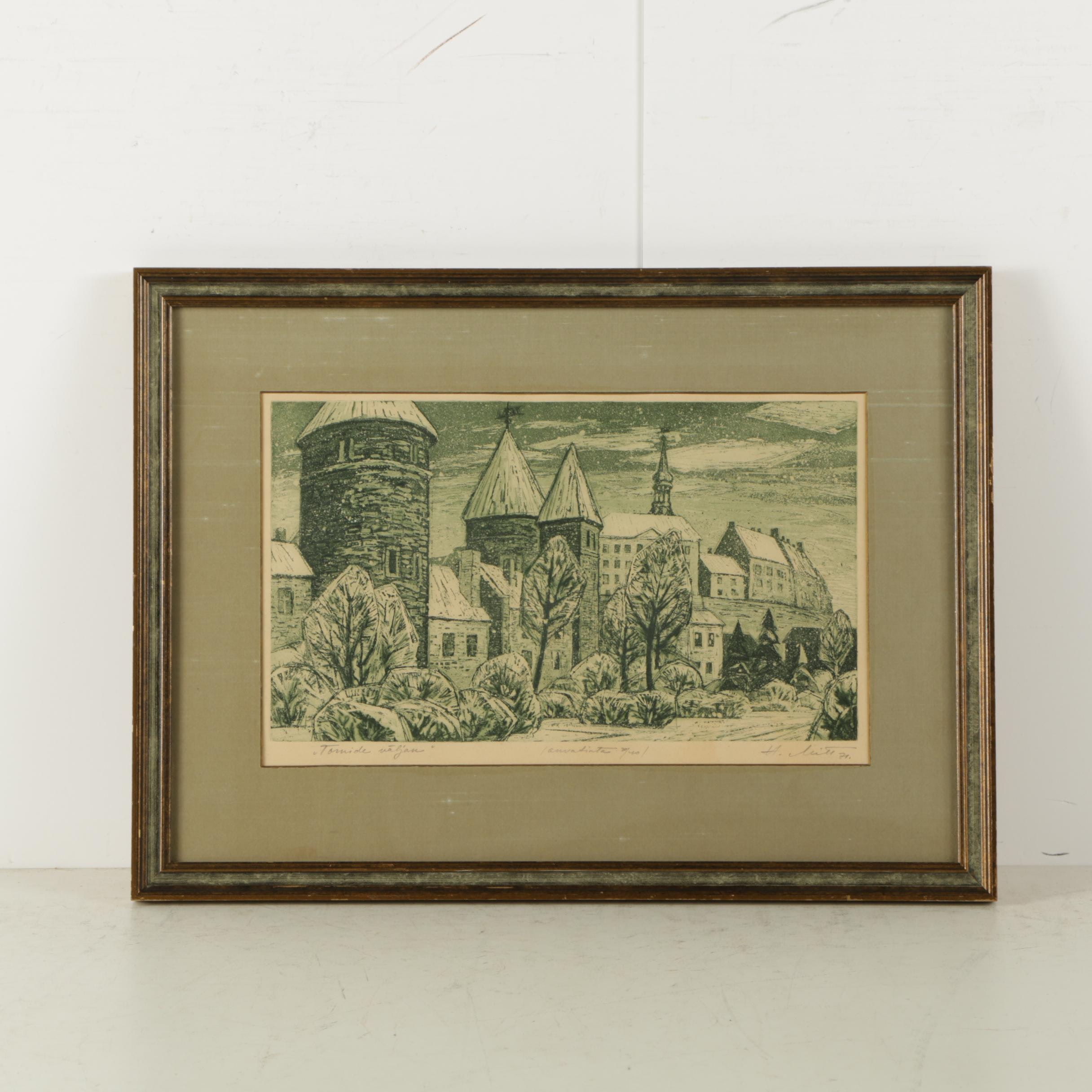 """Limited Edition Etching on Paper """"Tornide Väljak"""""""