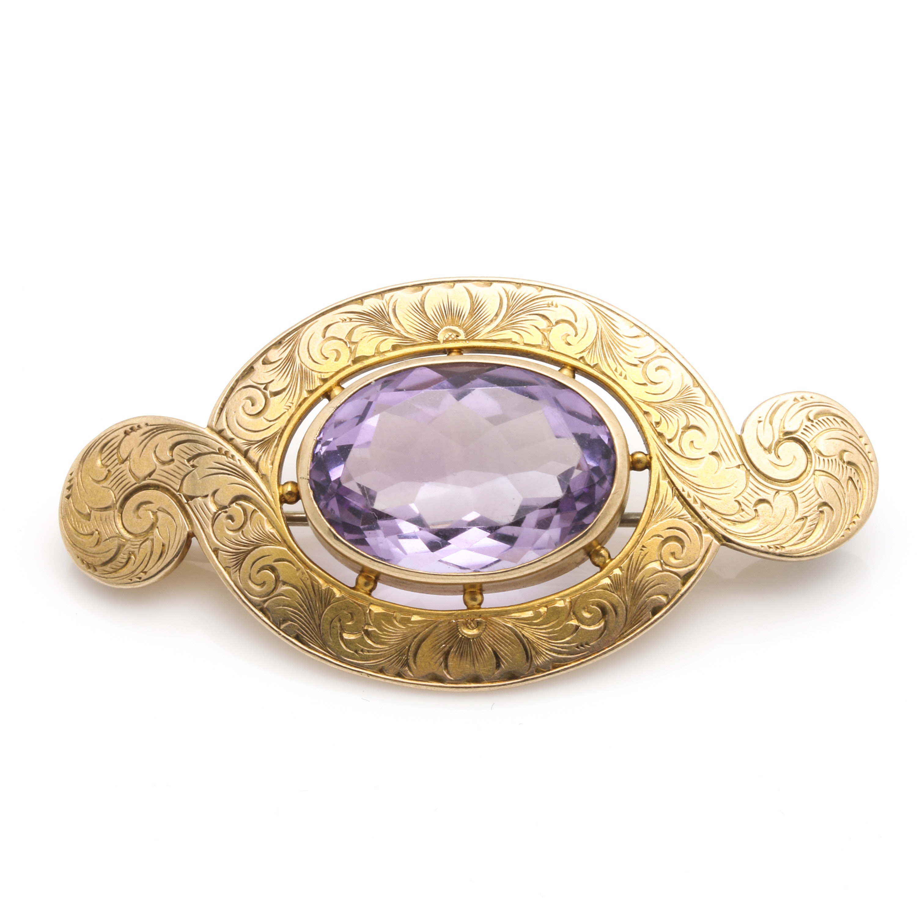 Victorian Style 10K Yellow Gold 11.59 CT Amethyst Brooch