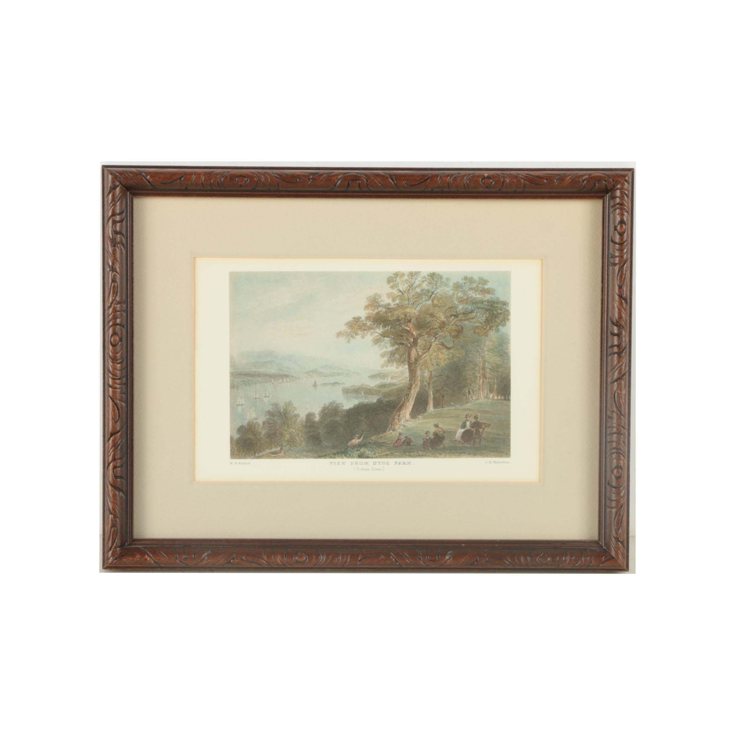 """Offset Lithograph After William Henry Bartlett Engraving """"View From Hyde Park"""""""