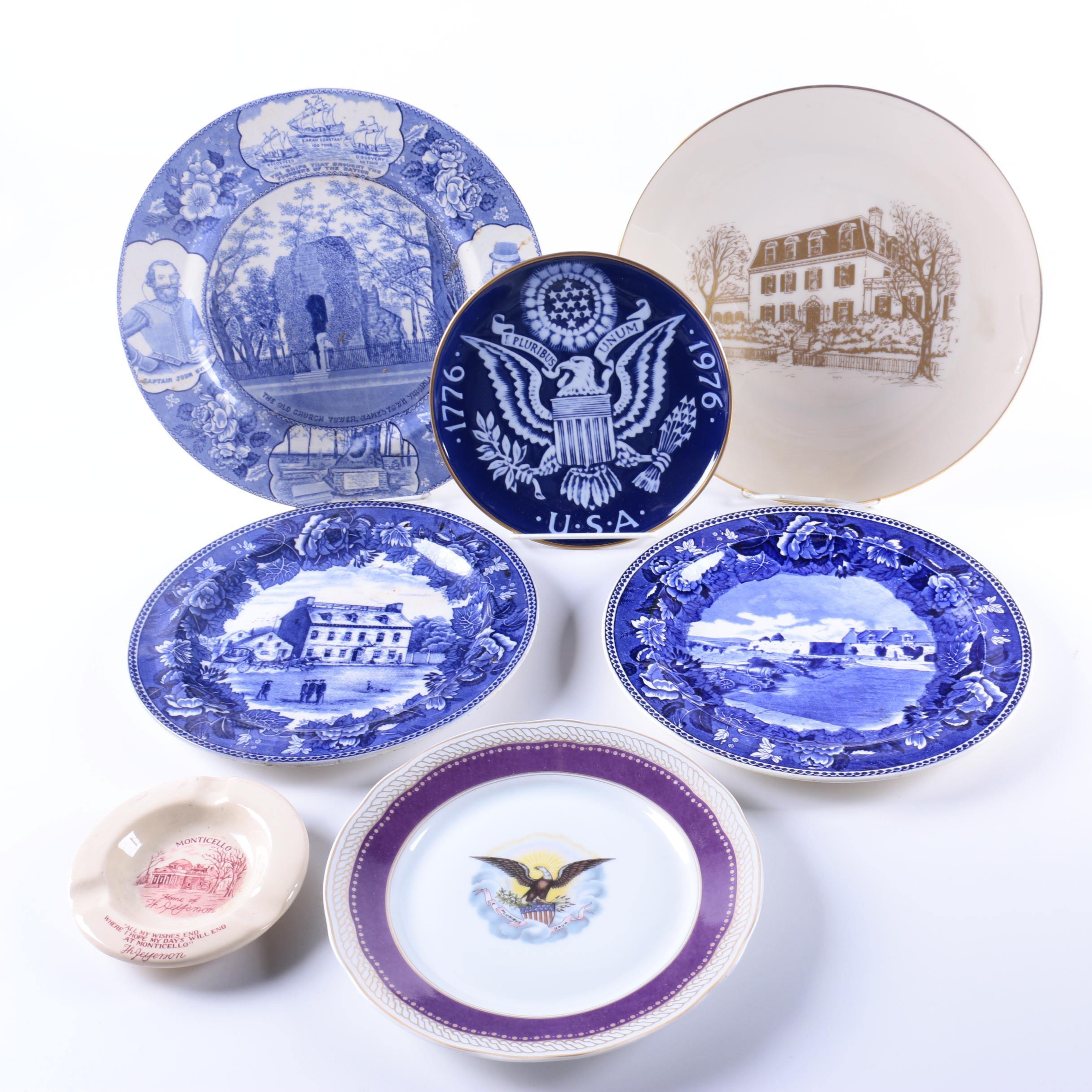 American Themed Commemorative Porcelain Plates and Ash Receiver