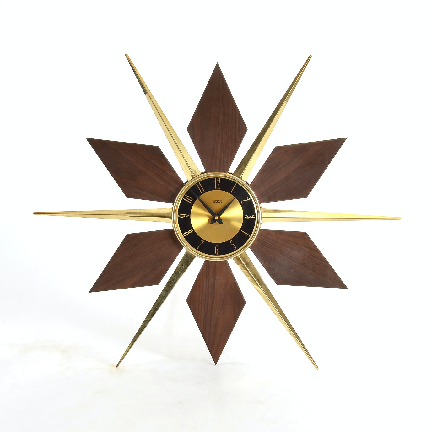 Mid Century Modern Sunburst Wall Clock