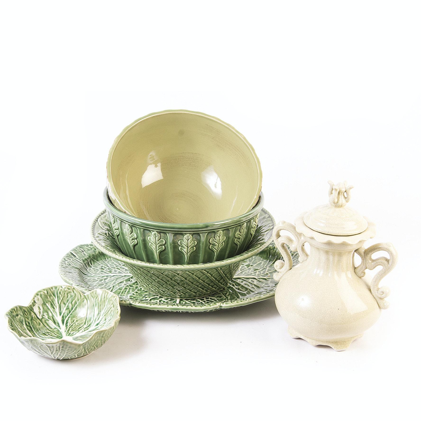 Majolica Style Ceramic Serveware including Bordallo Pinheiro,