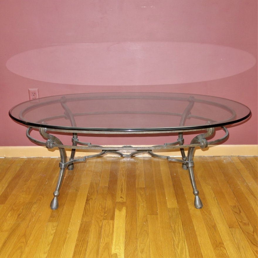 Contemporary Coffee Table Glass Top: Contemporary Metal Glass Top Coffee Table : EBTH