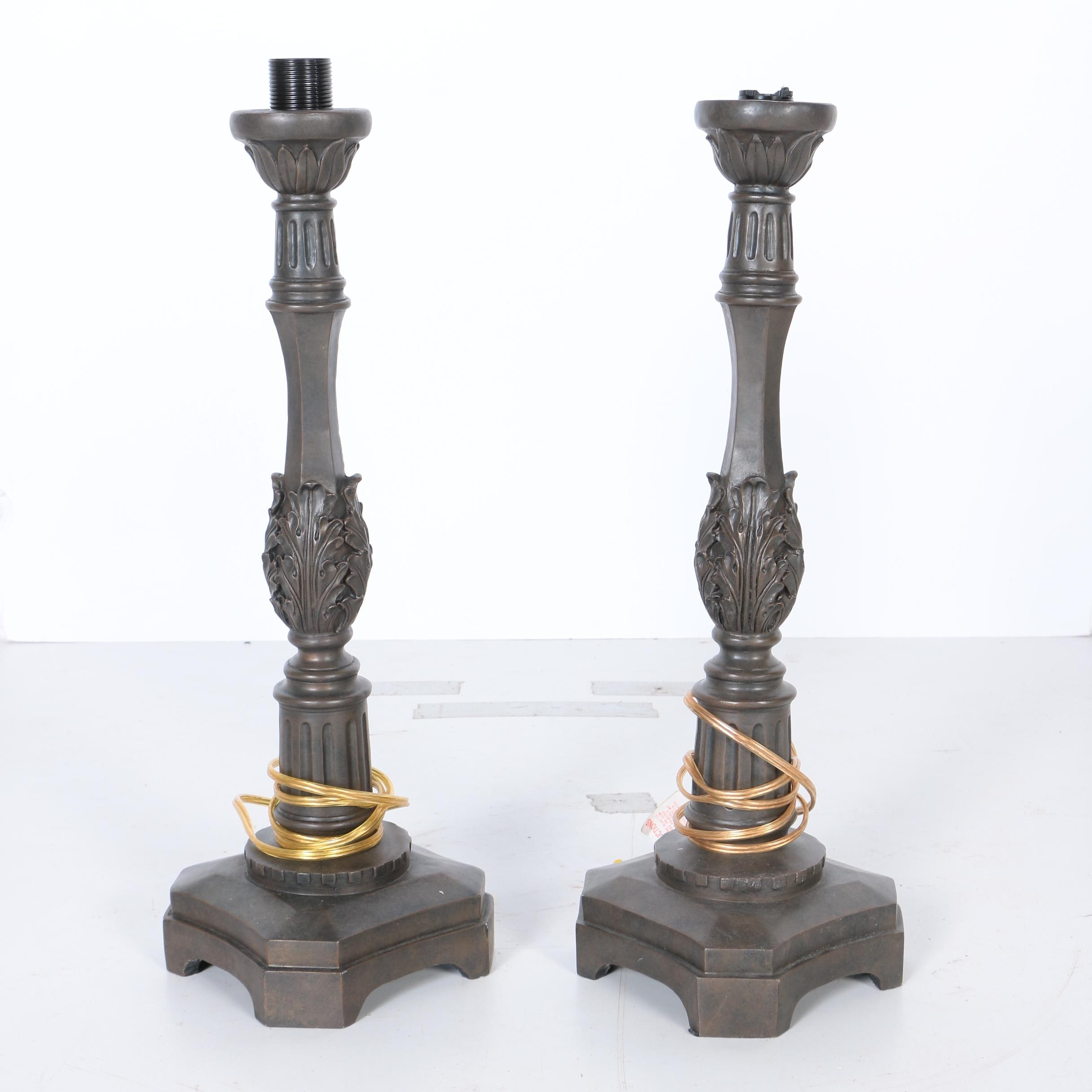 Bronze Tone Candlestick Table Lamps