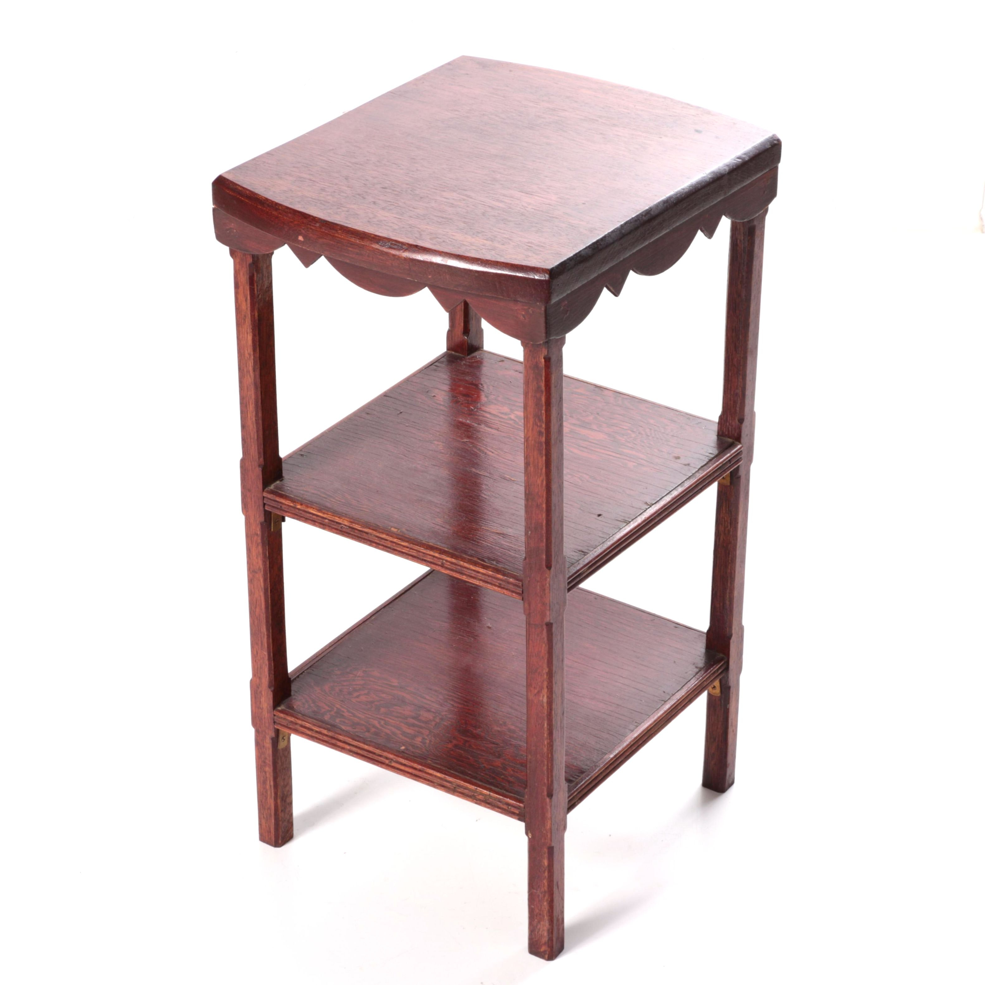 Vintage Walnut Three-Tier Accent Table