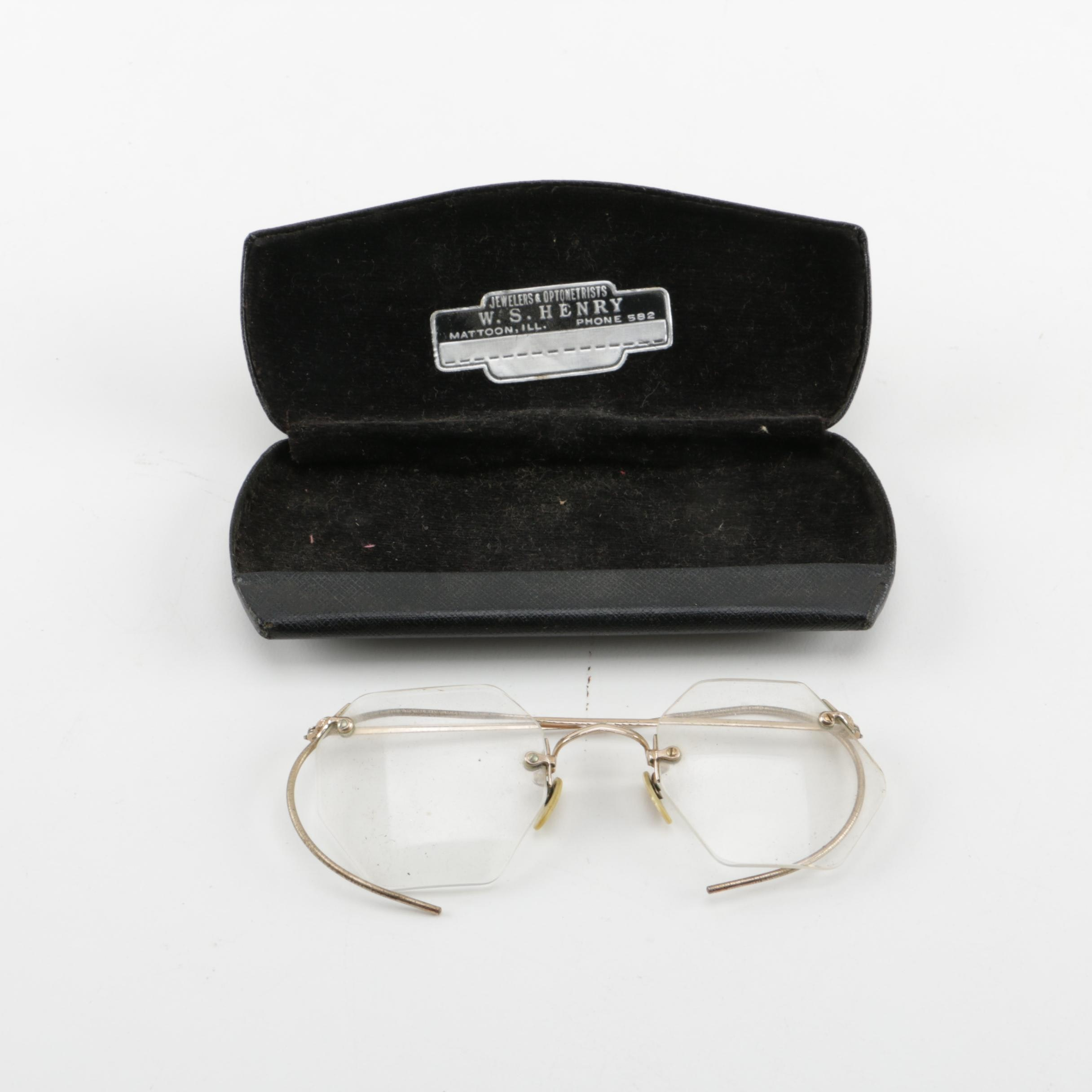 Vintage Rimless Metal Eyeglasses