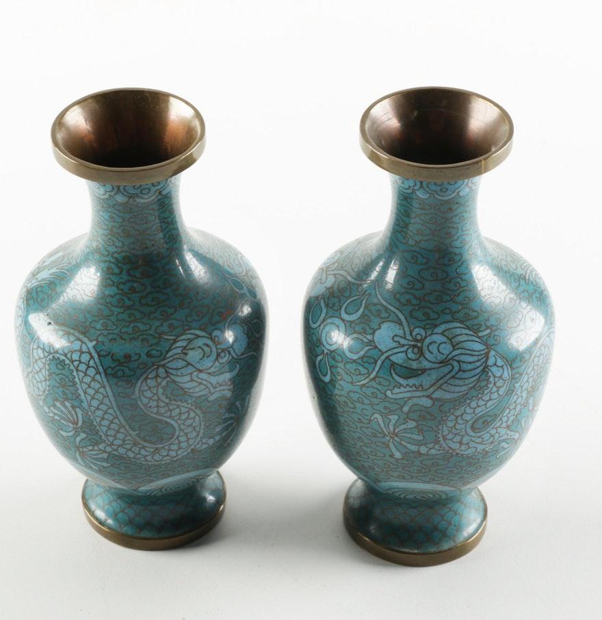 Chinese Cloisonné Dragon Vases