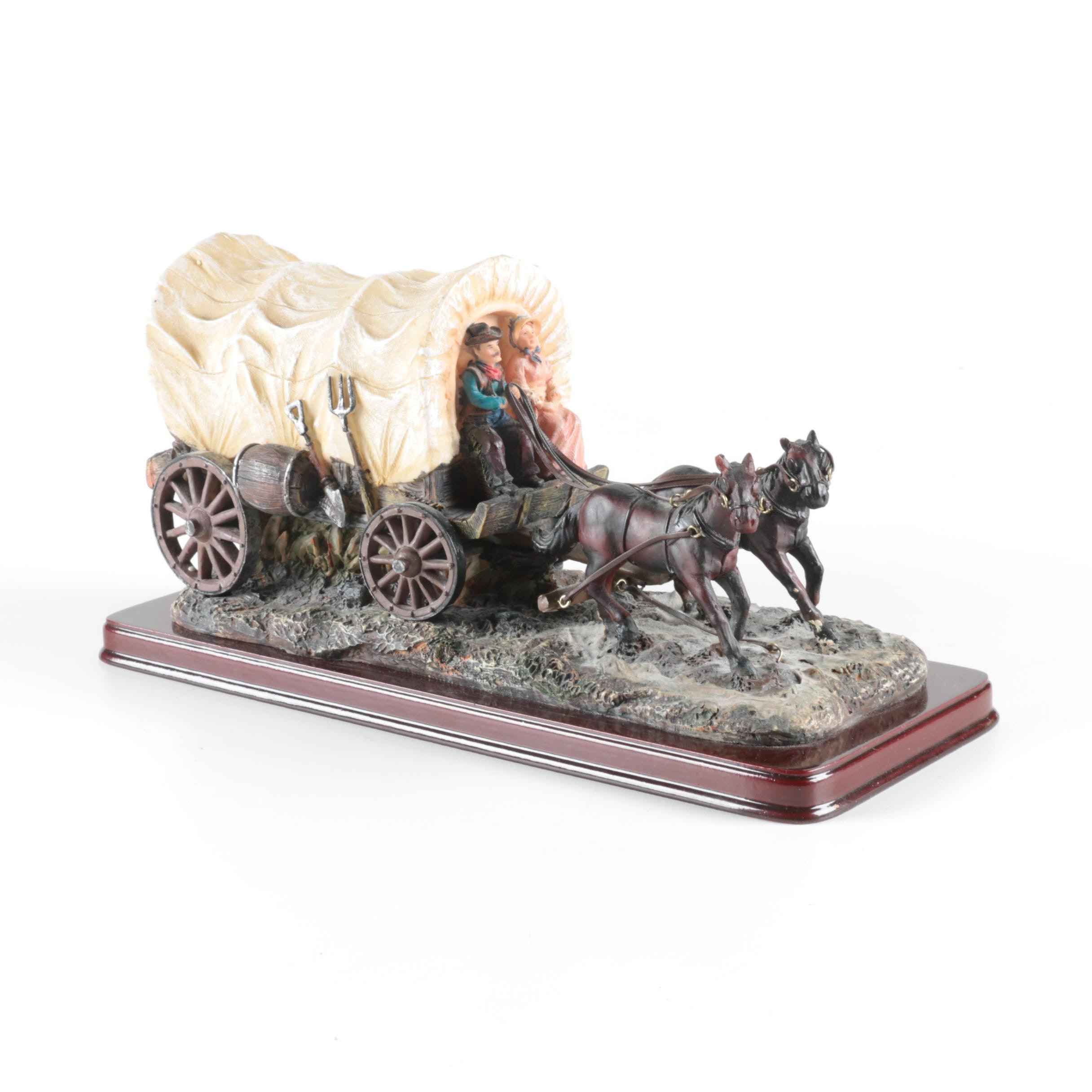 Resin Stagecoach Sculpture on a Wooden Plinth