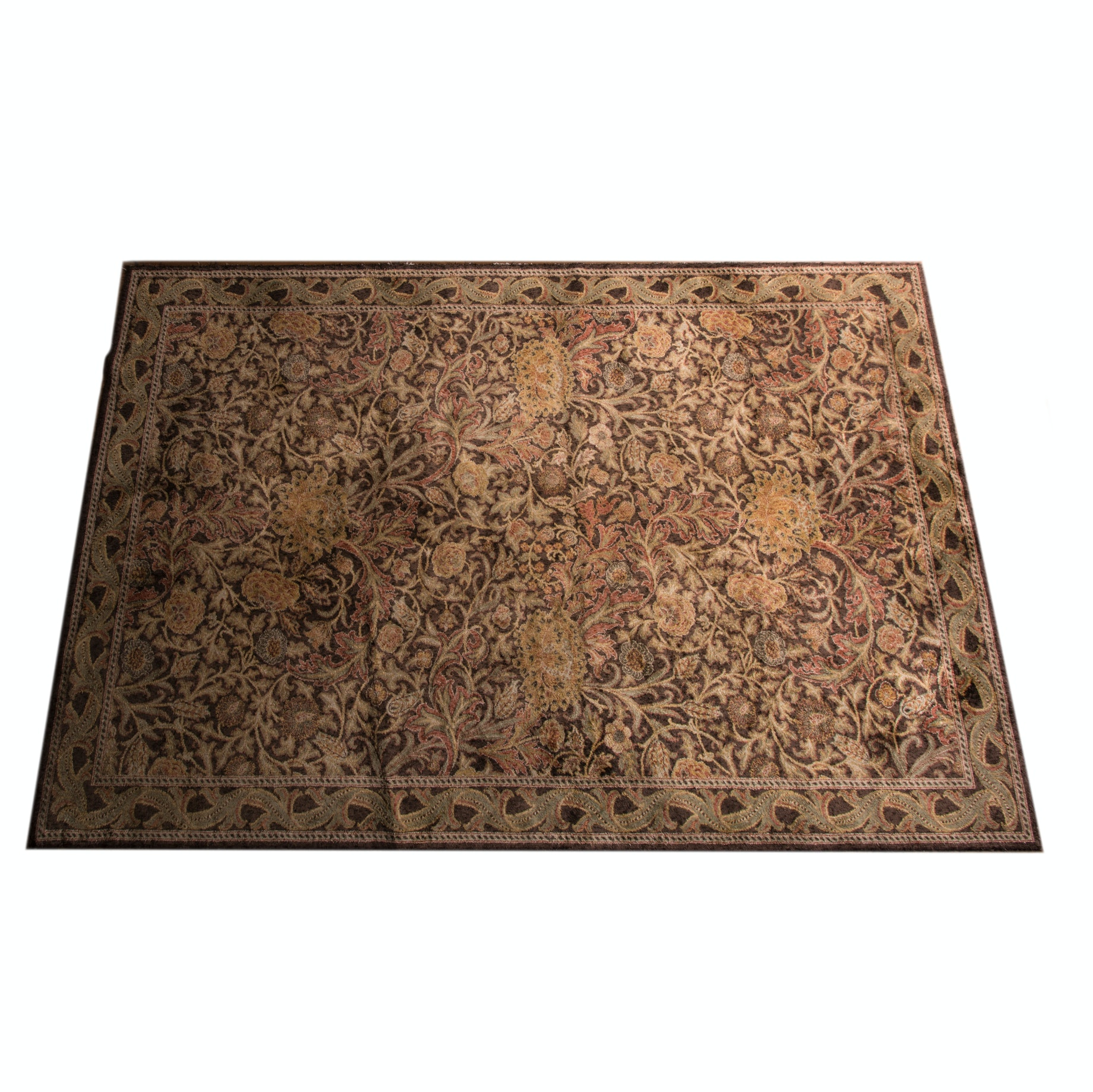 Power Loomed Synthetic Floral Area Rug