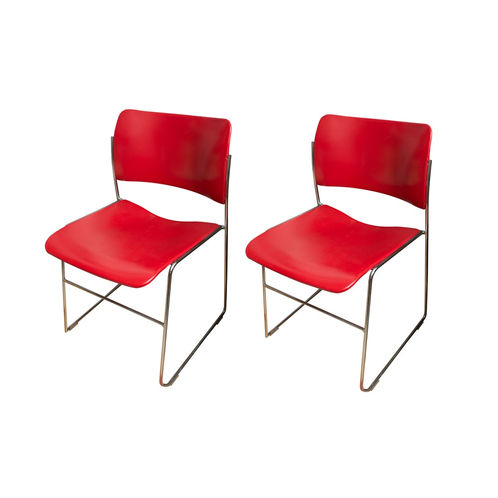 Pair of Modern Red Stacking Chairs