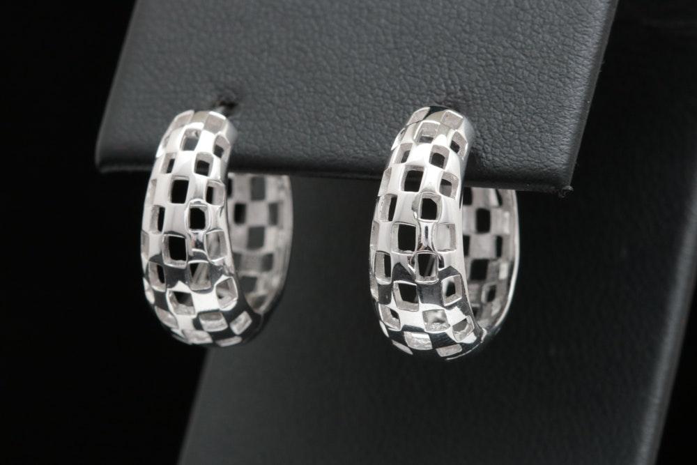 Bastin Sterling Silver Mesh Hoop Earrings
