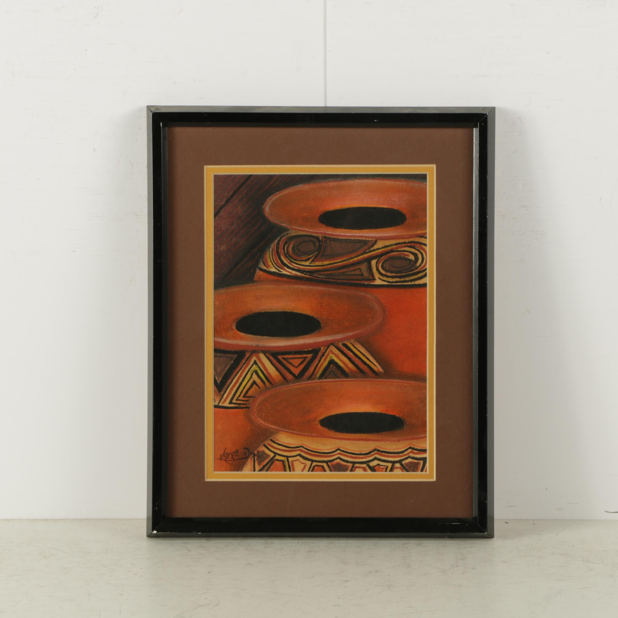 Jorge Dunn Pastel Drawing of Central American Style Pottery