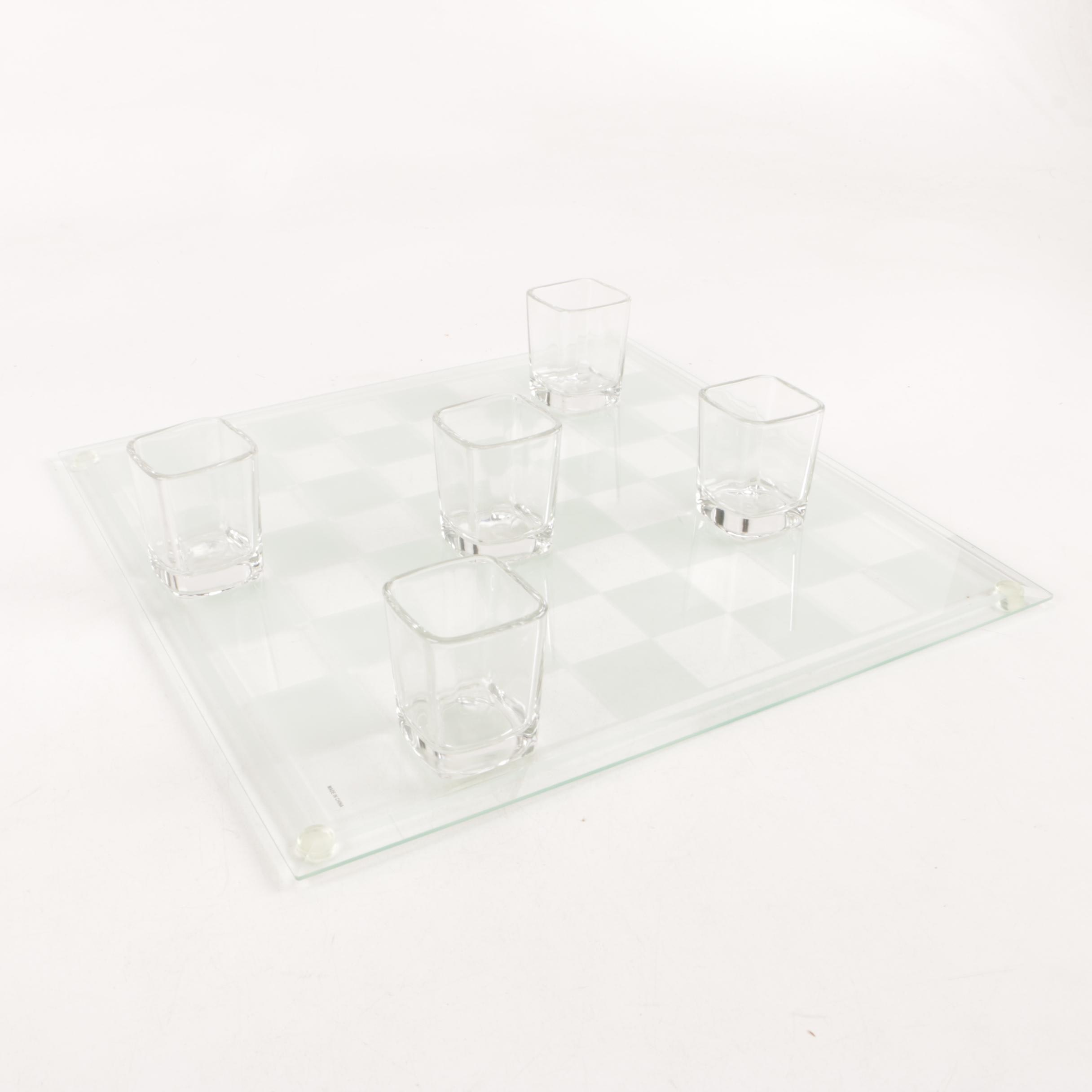 Luminarc Checkered Tray with Shot Glasses