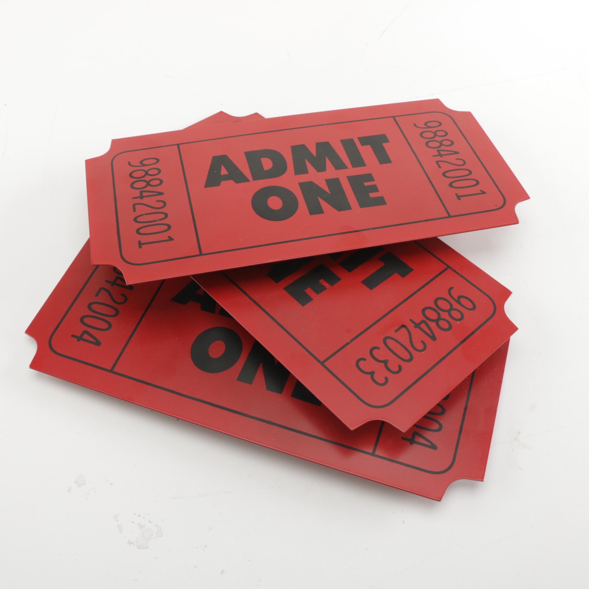 """Admit One"" Tickets Tin Wall Decor"