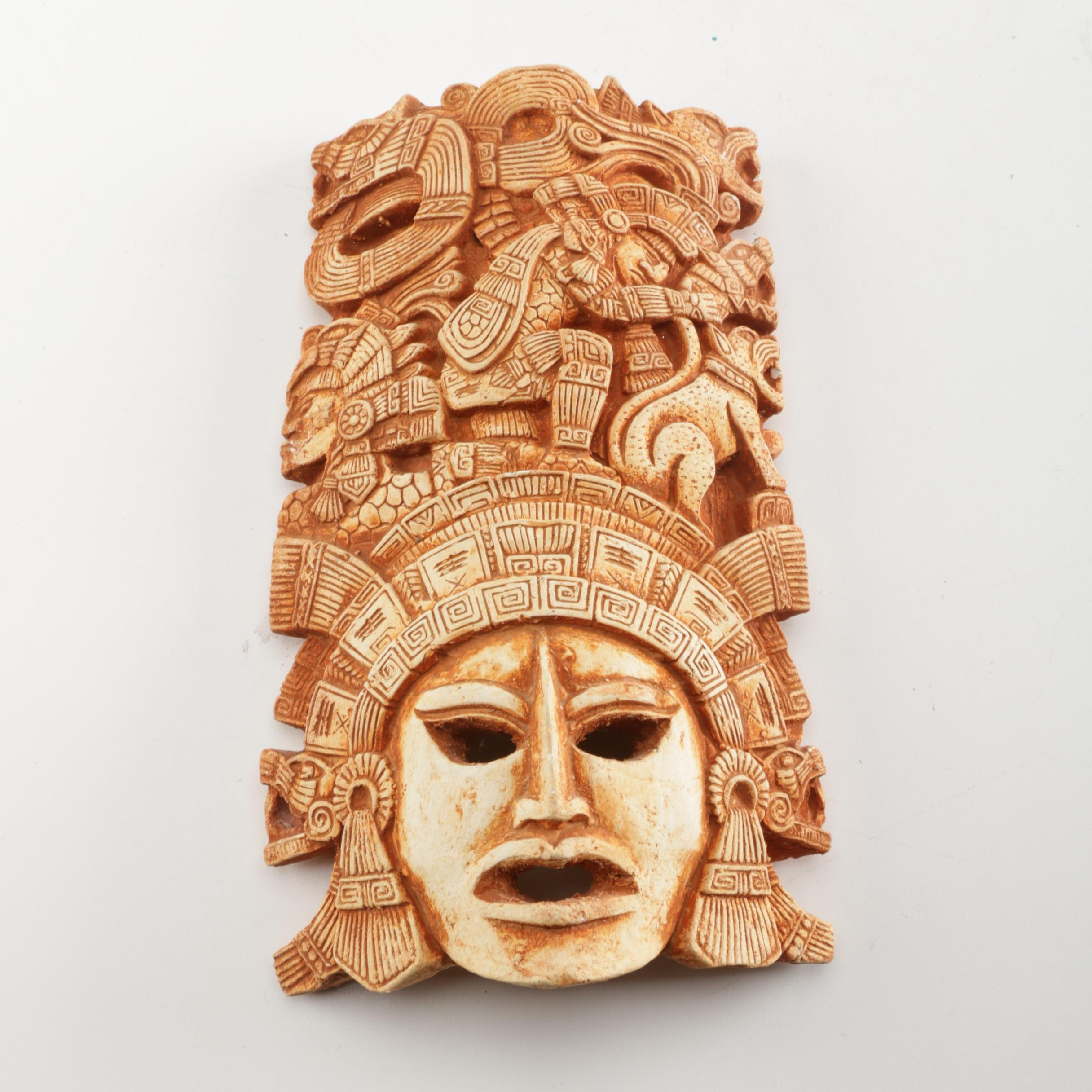 Aztec Inspired Ceramic Mask Sculpture