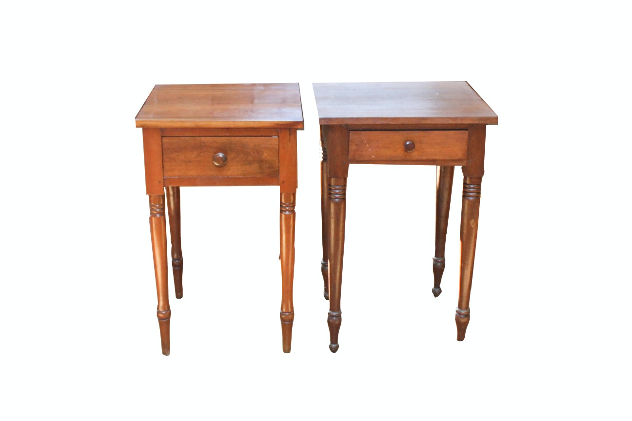 Pair Of Antique Cherry Side Tables ...