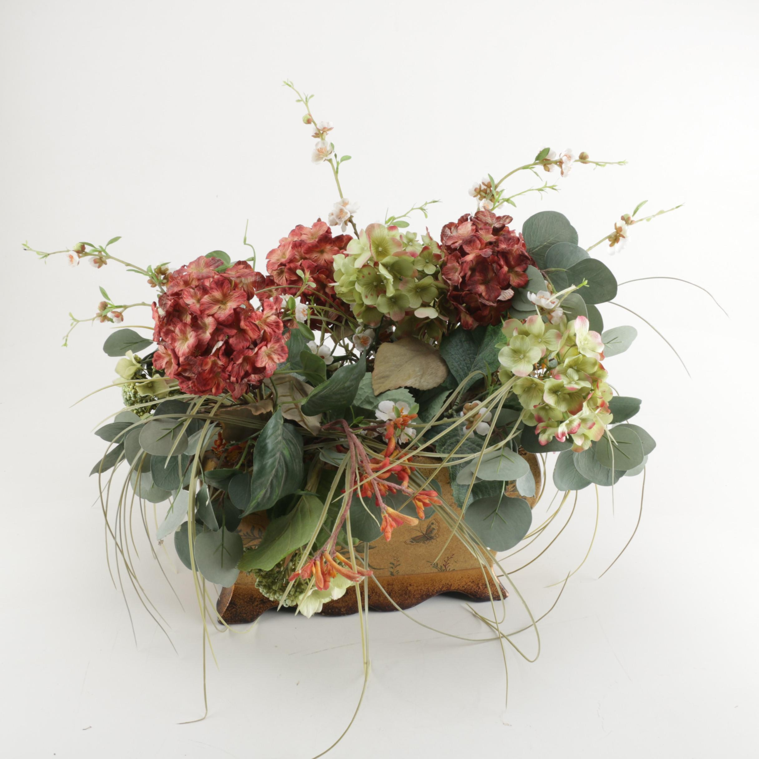 Ceramic Planter With Artificial Flowers