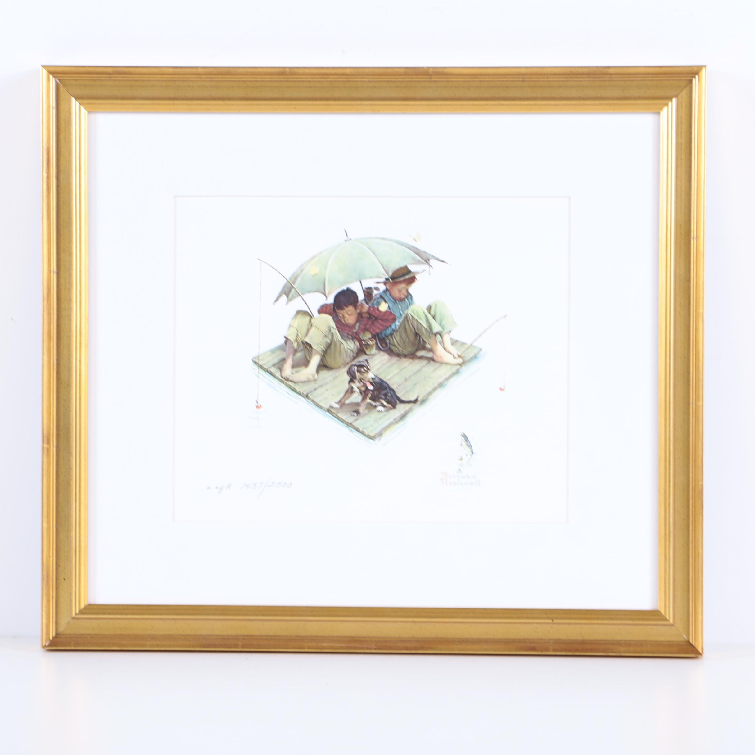 "Limited Edition Reproduction Print After Norman Rockwell ""Fisherman's Paradise"""