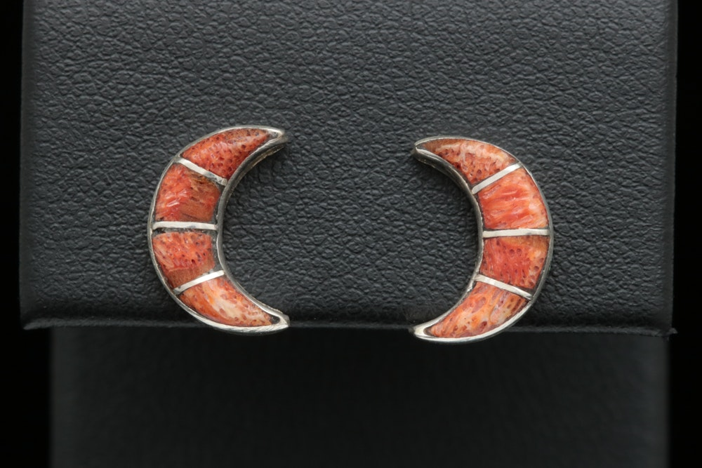 Sterling Silver and Coral Crescent Moon Earrings