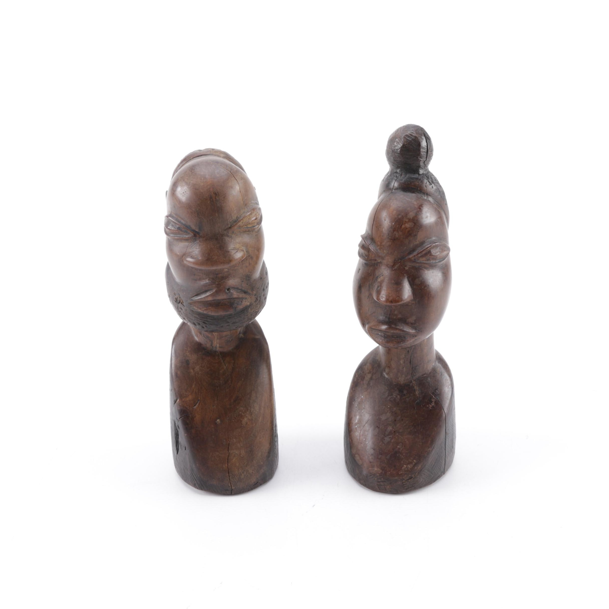 African Style Wooden Busts