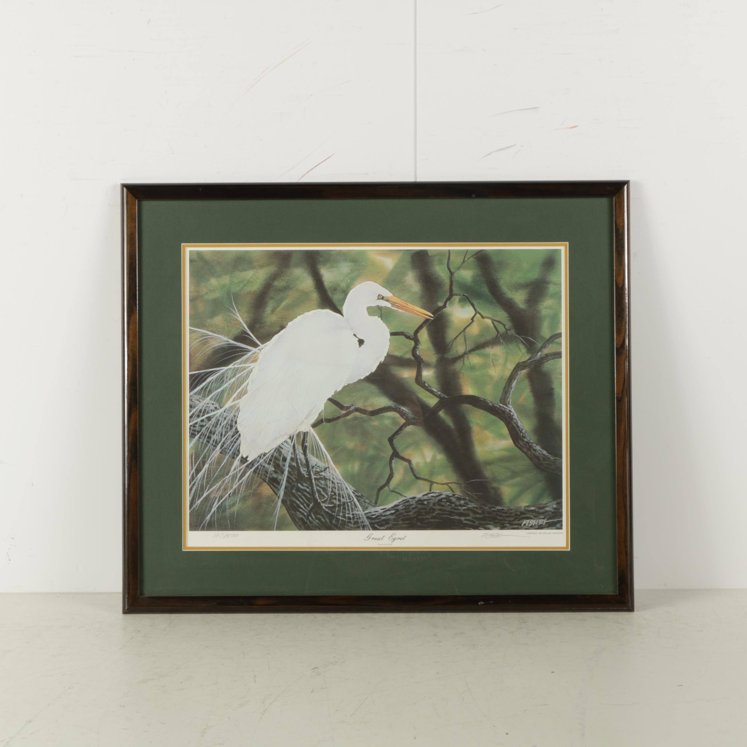 "Phillip D. Fisher Limited Edition Reproduction Print ""Great Egret"""