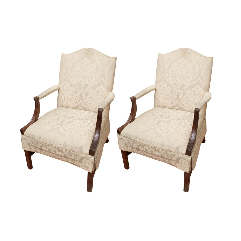 Pair of George III Style Upholstered Armchairs