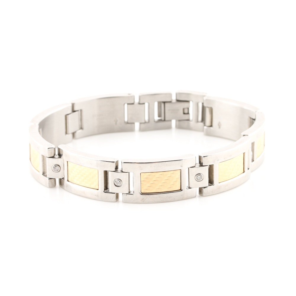 Stainless Steel and 18K Yellow Gold Diamond Link Bracelet