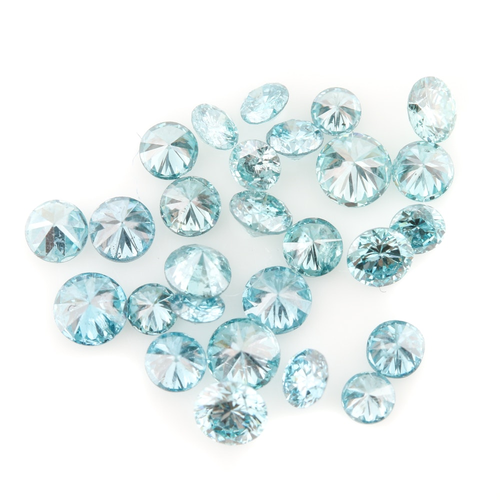 Loose 1.18 CTW Irradiated Blue Diamonds