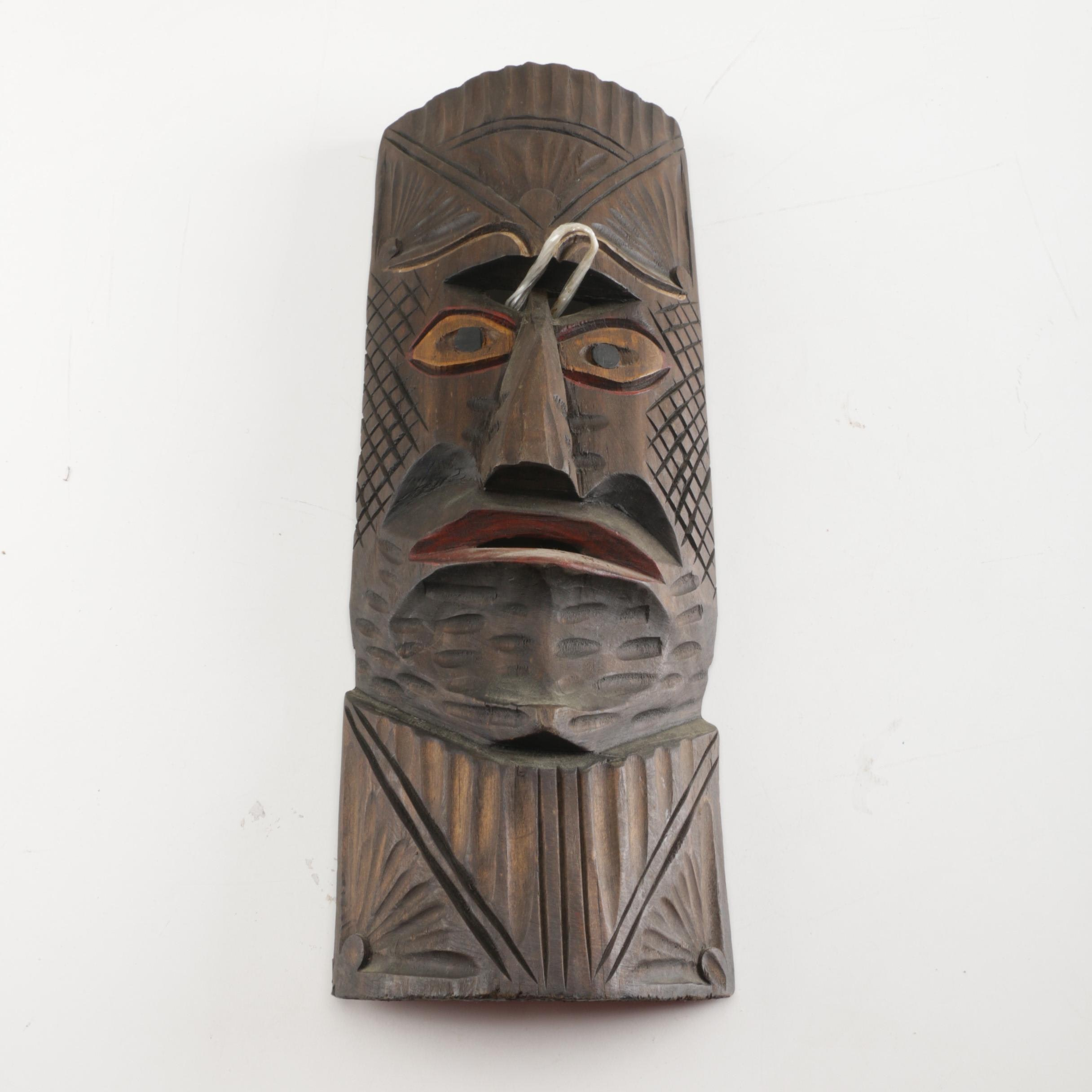 Polynesian Inspired Carved Wood Mask