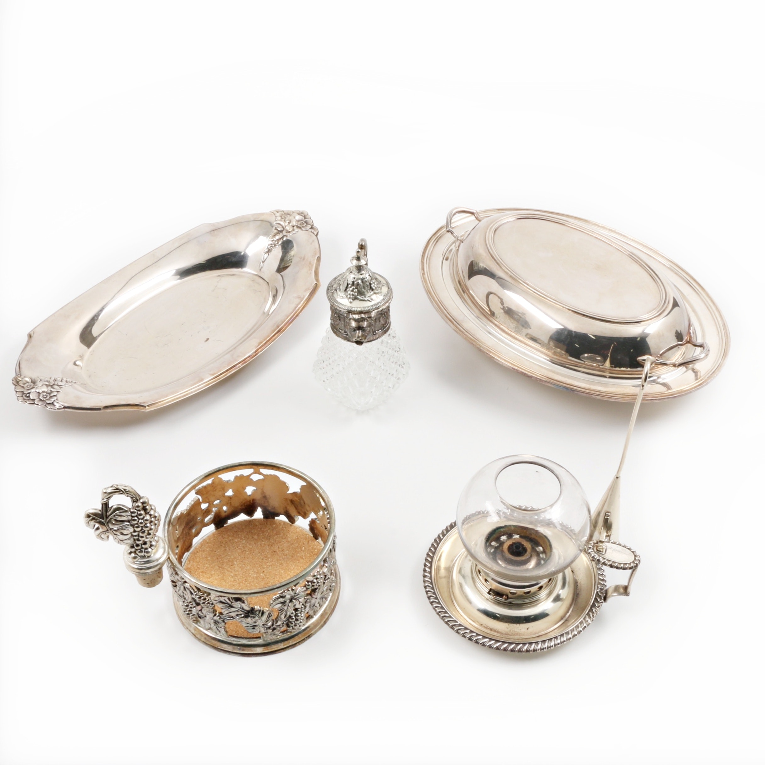 Group of Six Silver Plate Serving Pieces