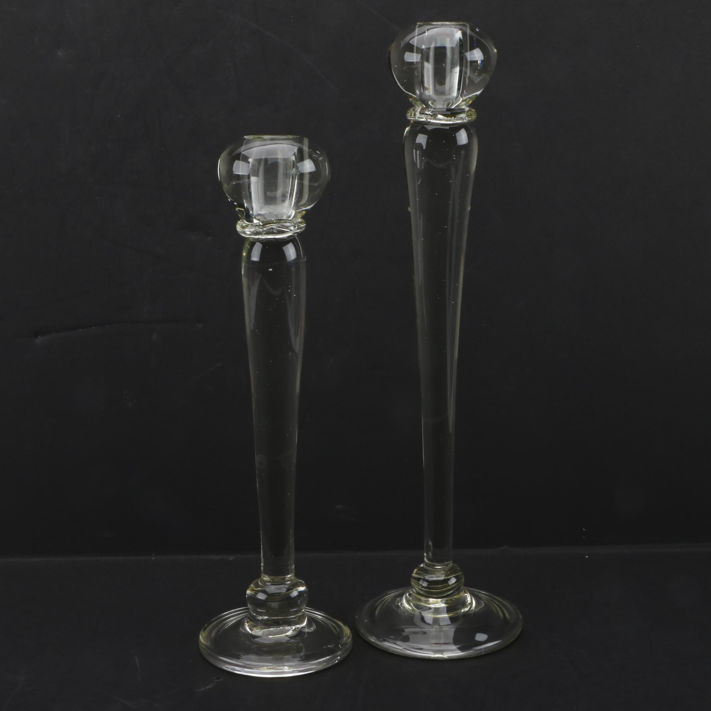 Pair of Contemporary Glass Candlestick Holders