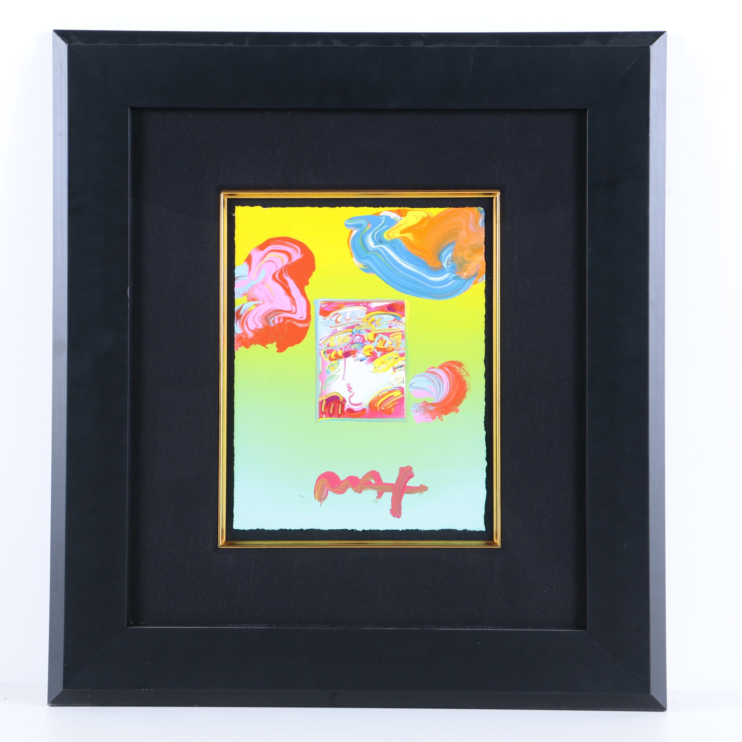 """Peter Max Hand-Embellished Print """"Blushing Beauty"""""""