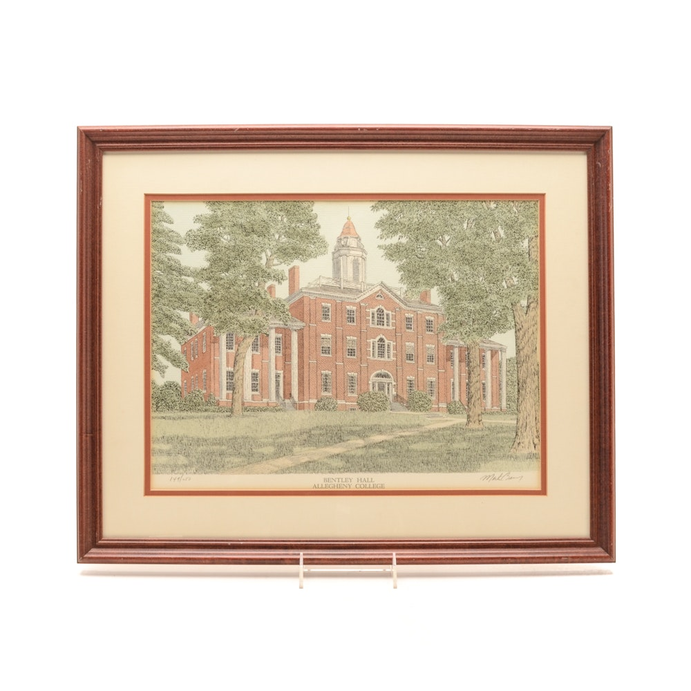 Martin Barry Limited Edition Hand-colored Lithograph of Allegheny College