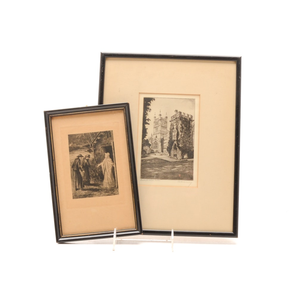 Two Vintage Signed Etchings on Paper
