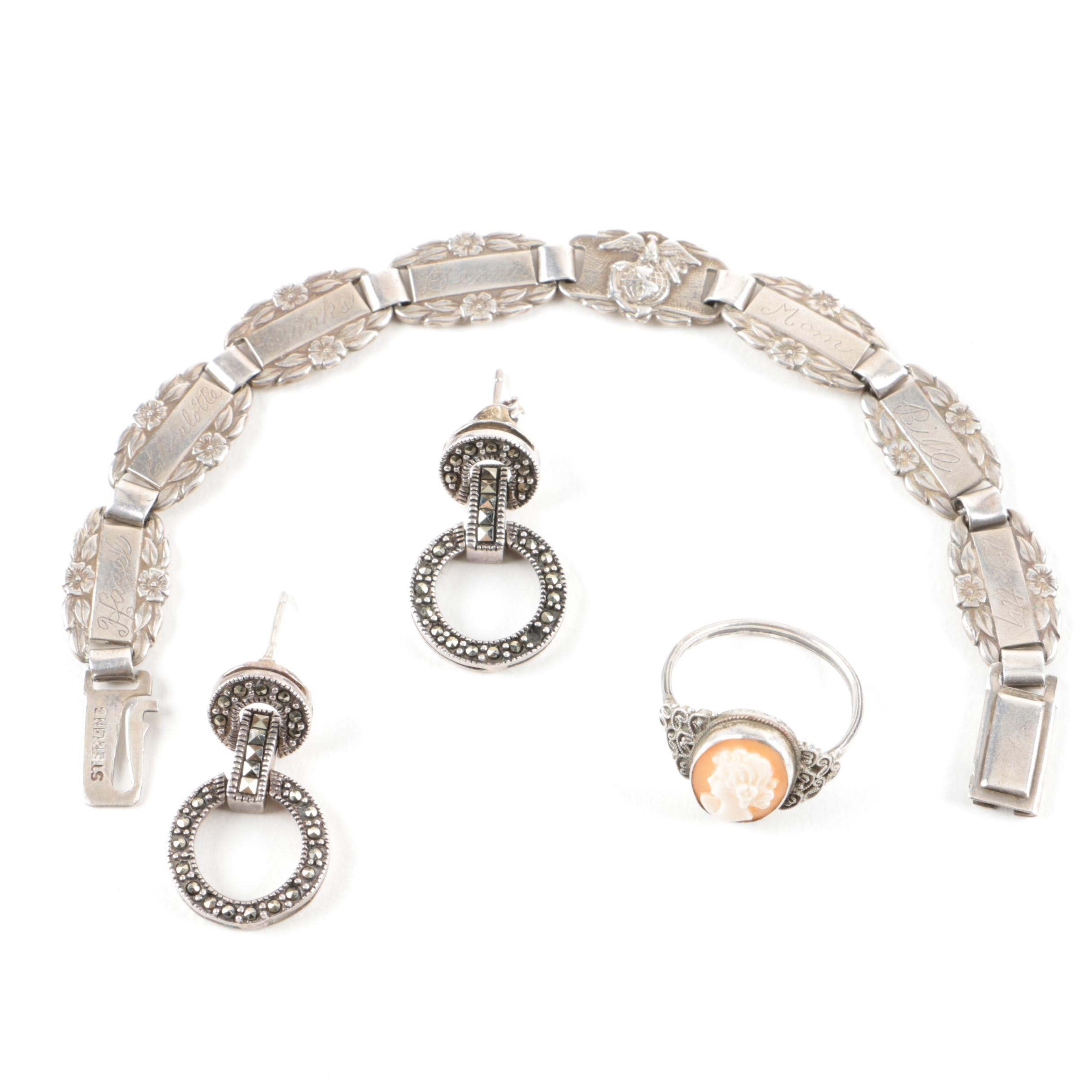 Sterling Silver Jewelry Including a Forget-Me-Not bracelet