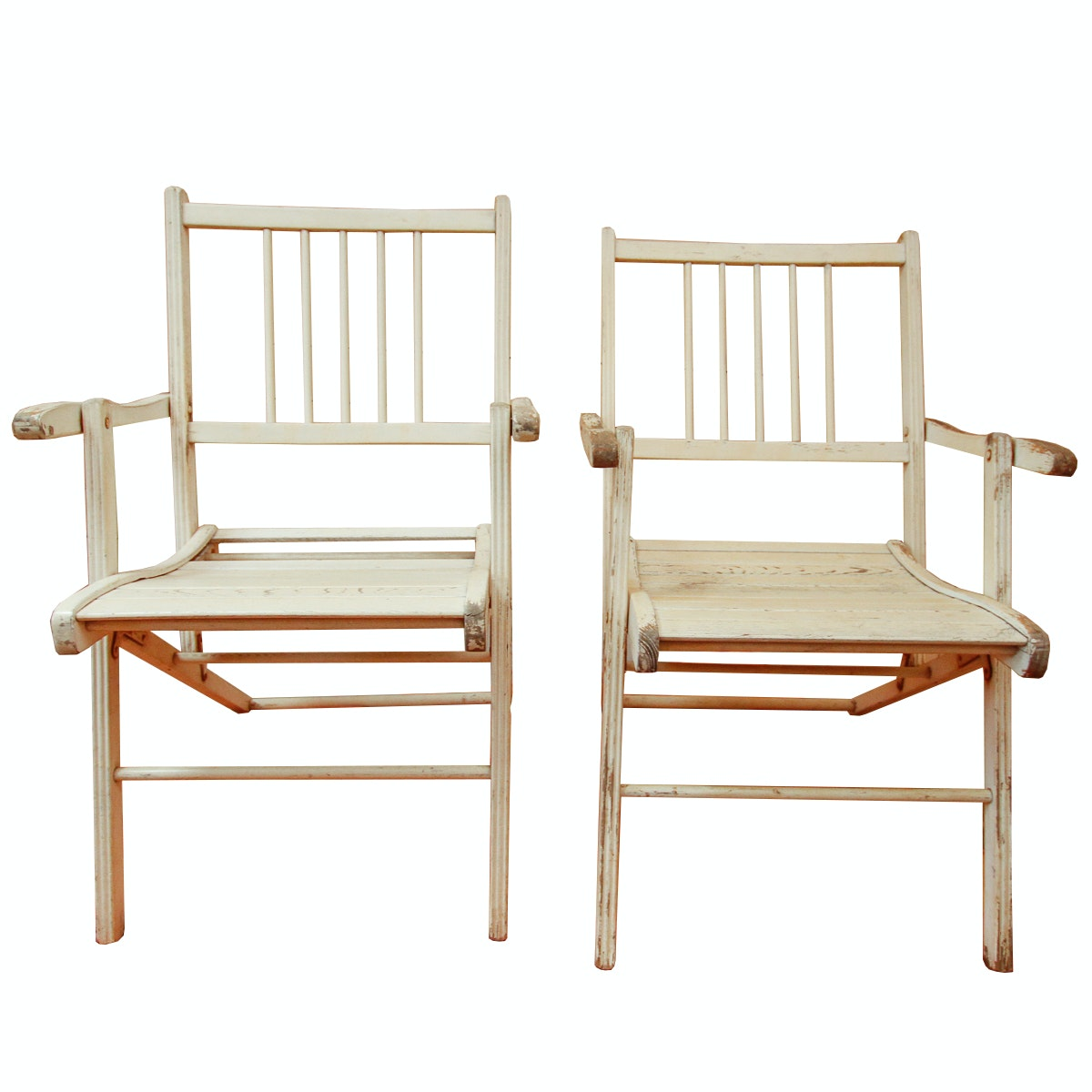 Pair Of Vintage Folding Chairs By Gold Medal Folding Furniture Company ...