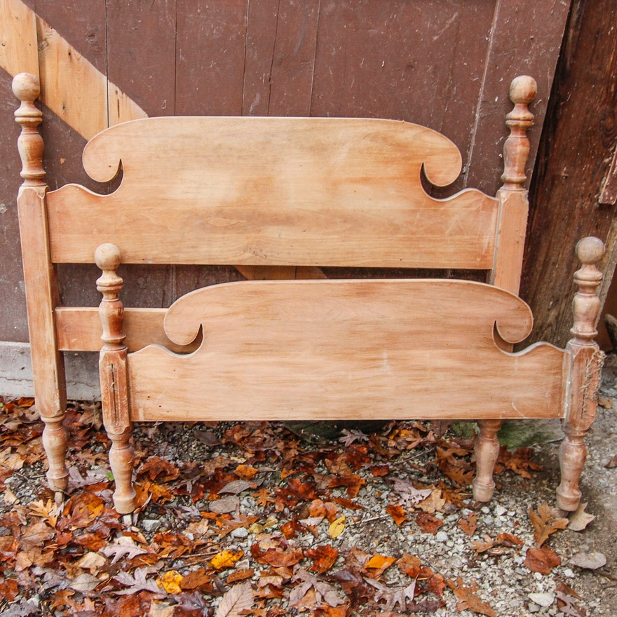 Vintage Wooden Twin Headboard And Footboard
