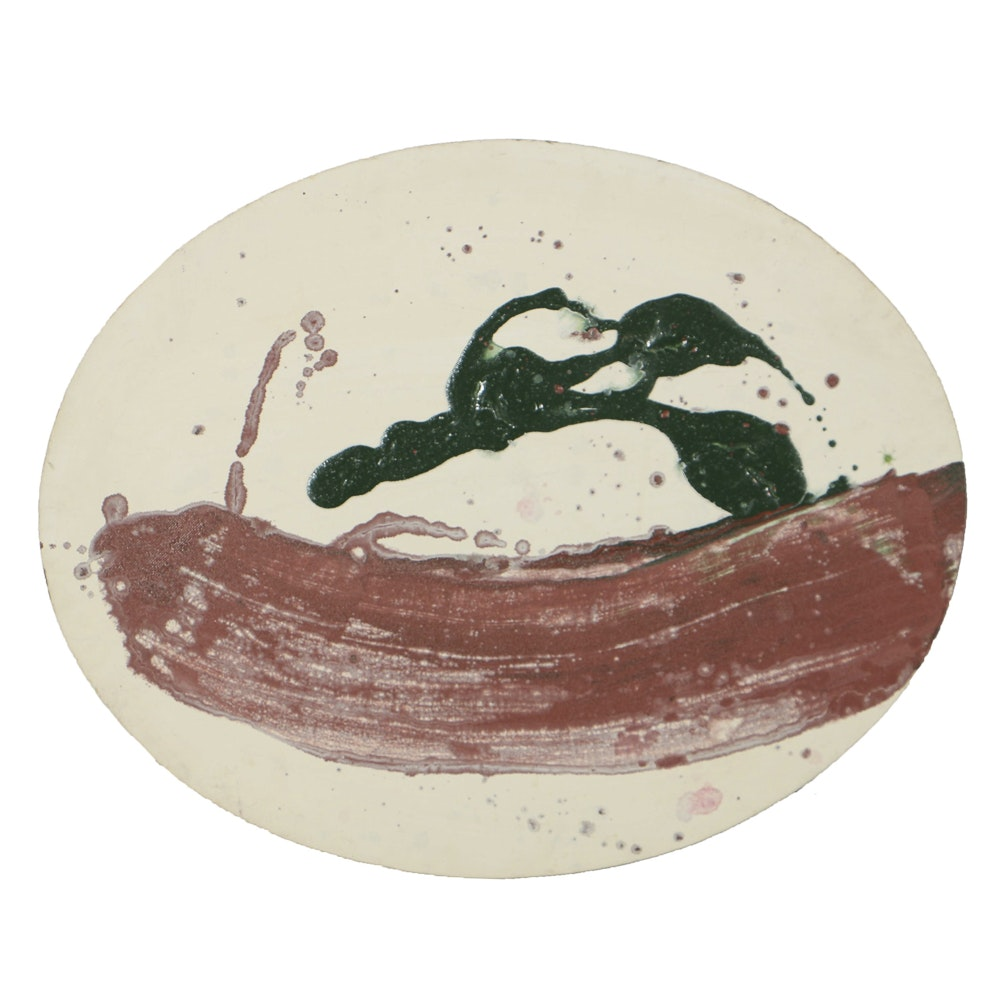 Lucy Baker Acrylic Painting on Oval Canvas