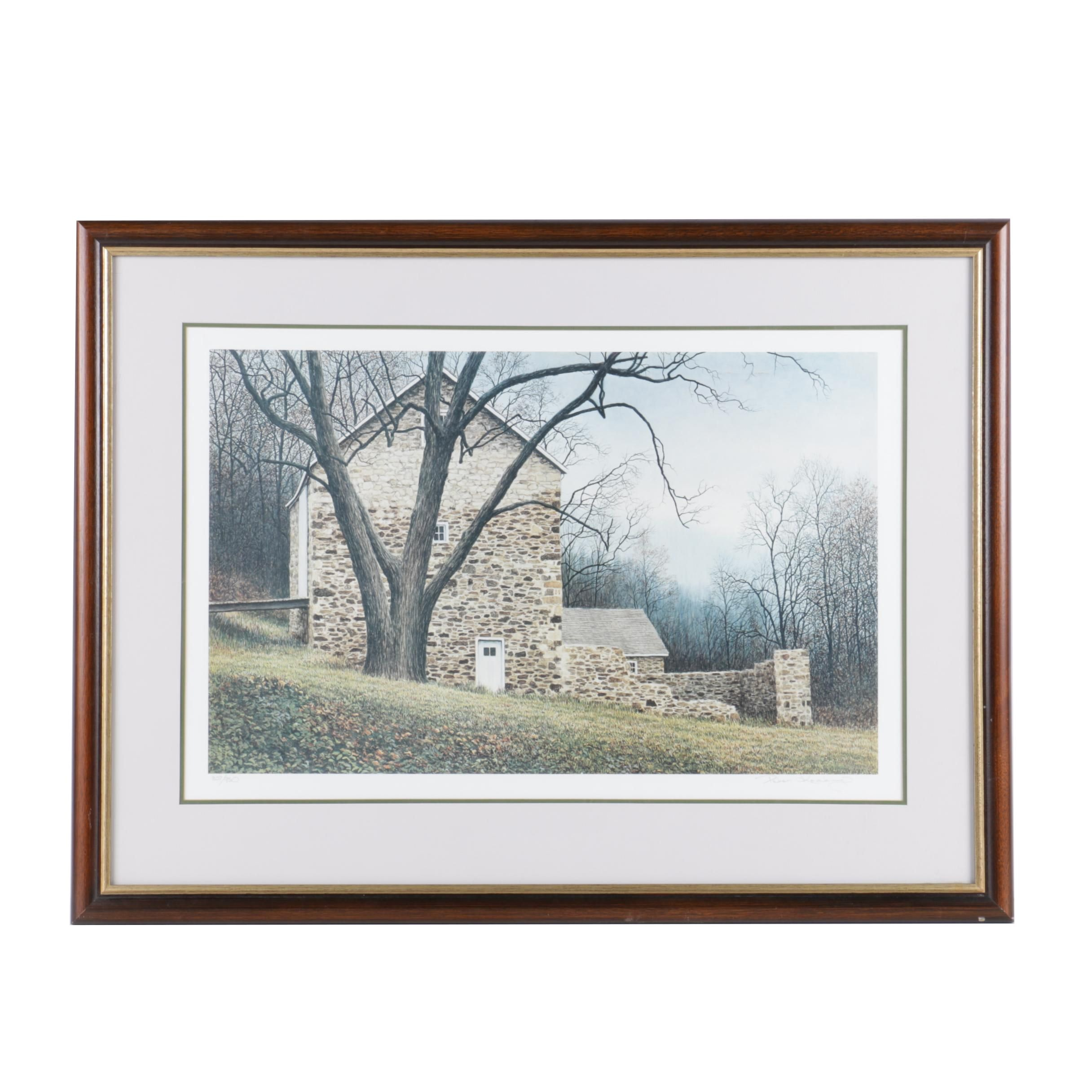 "Peter Keating Limited Edition Offset Lithograph ""October Barn"""