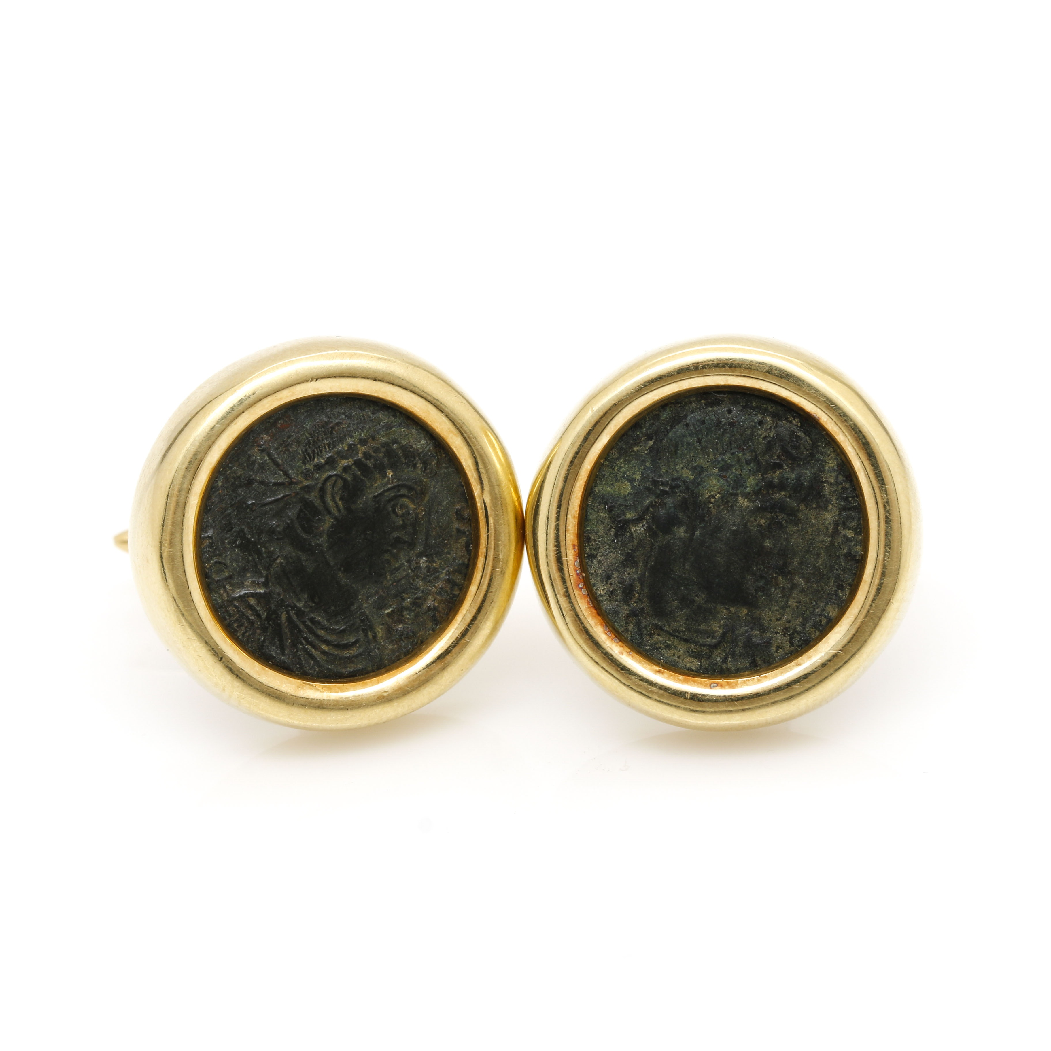 18K Yellow Gold Roman Imperial Copper AE Coin Cufflinks